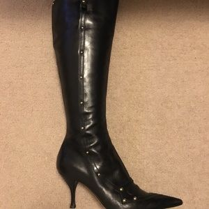 SERGIO ROSSI BLACK LEATHER KNEE HIGH BOOTS SIZE 37